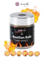 6 Brazillian balls - effet chaleur : La chaleur du corps transforme la brazilian ball en liquide glissant à effet chaud, votre imagination s'en trouve exacerbée.