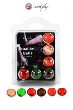 6 Brazillian balls parfums variés : La chaleur du corps transforme la brazilian ball en liquide glissant parfumé, votre imagination s'en trouve exacerbée.