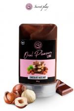 Lubrifiant comestible chocolat-noisette : Lubrifiant 100% comestible au parfum chocolat-noisette signé de la marque Espagnole Secret Play.