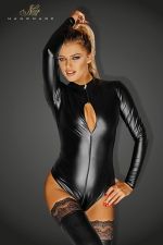 Body Monarch : Body wetlook manches longues, avec un triple zip intégral qui s'ouvre jusqu'aux fesses.