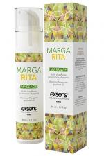 Huile de massage chauffante gourmande - Margarita : Huile de massage chauffante et gourmande au gout Margarita, flacon de 50 ml, marque Exsens.